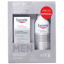 Eucerin Men Pack Cuidado Facial Diario: Crema Facial Anti-Edad 50ml + Espuma de Afeitar 150ml